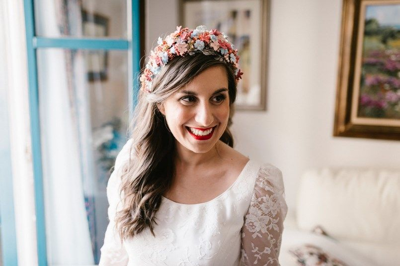 Corona novia Peqaré boda en Bilbao Sara y Jamie Berezi Moments wedding planner